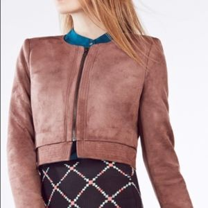 BCBG Jacket DUKE SM Faux suede Tan Toffee Zip crop